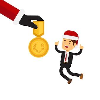 Kerstmisconcept, santa claus die een beloning voor werknemers geeft