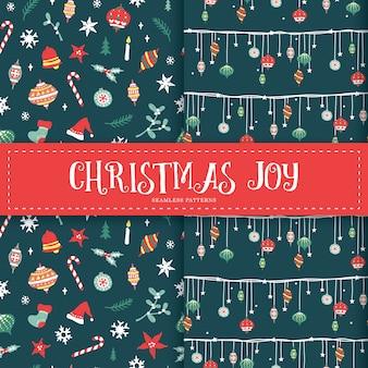 Kerstmiselementen van de winter naadloze patronen