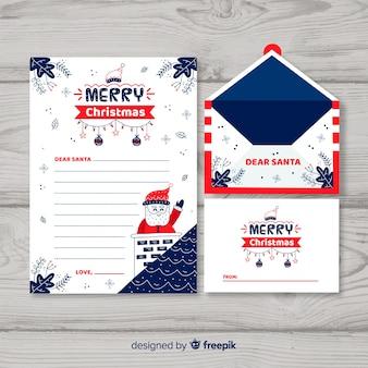 Kerstmisenvelop en brieven in hand getrokken stijl