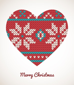 Kerstmishartornamenten - naadloos gebreide kaart