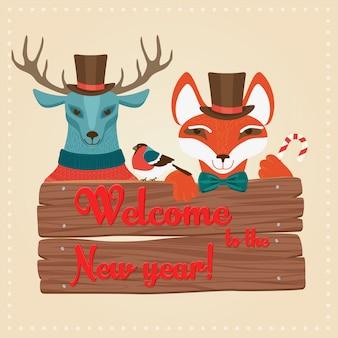 Kerstmisherten en vos die houten raad houden