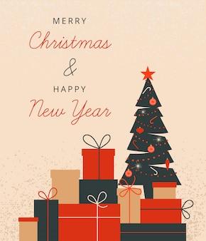 Kerstmisillustratie met kerstmis verfraaide boom en stapel giftdozen