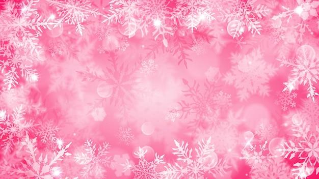 Kerstmisillustratie met witte vage sneeuwvlokken, schittering en fonkelingen op roze achtergrond