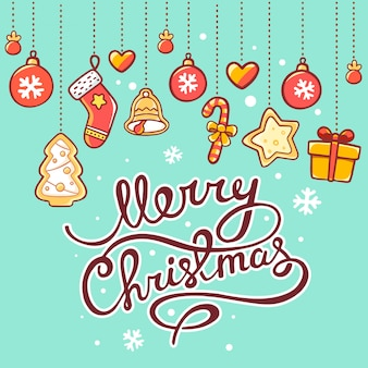 Kerstmisillustratie van rode en gele slinger en hand geschreven teksten