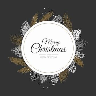 Kerstmiskader met de kroon van de winterinstallaties