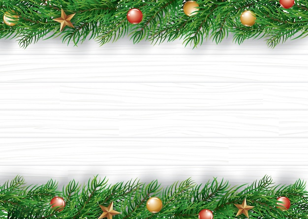 Kerstmiskader met exemplaarruimte voor tekst op witte houten achtergrond.