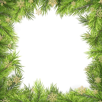 Kerstmiskader met pijnboomtakken en schaduw op wit wordt geïsoleerd dat.