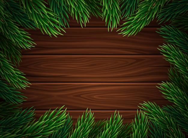 Kerstmiskader tegen de donkere houten plankenachtergrond