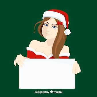 Kerstmiskarakter die witte lege kaart houden