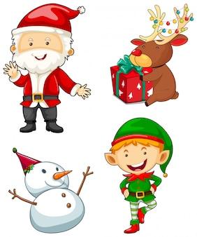 Kerstmiskarakters op witte achtergrond worden geplaatst die