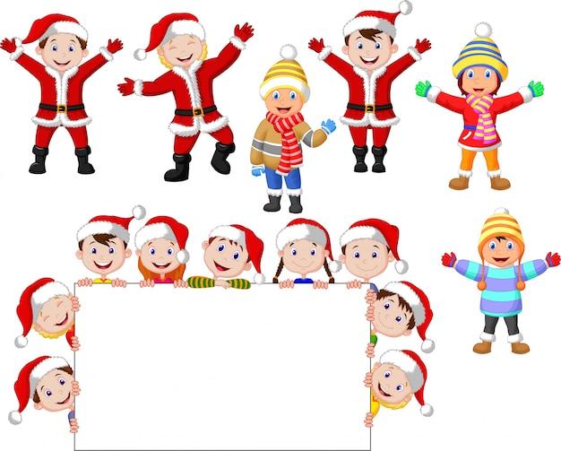 Kerstmiskinderen van kerstmis met leeg teken