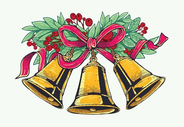 Kerstmisklokken met rood lint en kerstmis bloemen