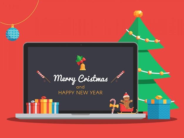Kerstmislaptop en boom