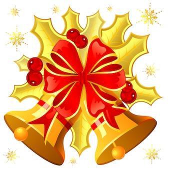 Kerstmismaretak, klok en sneeuwvlok, element voor ontwerp