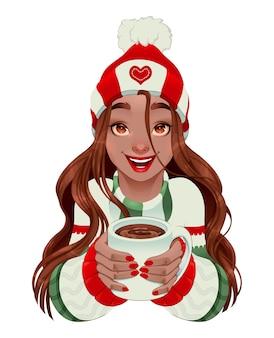 Kerstmismeisje met warme chocolademelk in haar handen.