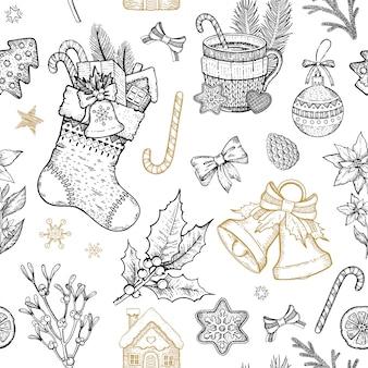 Kerstmisobjecten naadloos patroon. hand getrokken schets vakantie achtergrond.