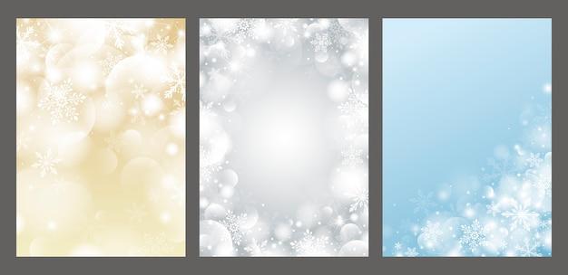 Kerstmisontwerp van sneeuwvlok en bokeh met lichteffect