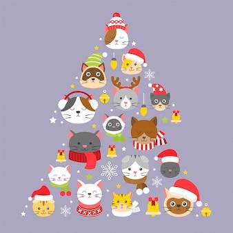 Kerstmispatroon en achtergrond van de kat