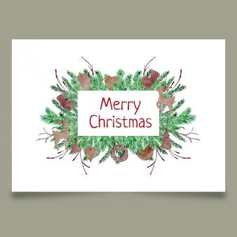 Kerstmisprentbriefkaar met naaldtakken en houten speelgoed