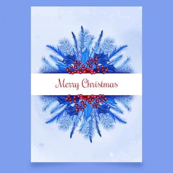 Kerstmisprentbriefkaar met viburnum en naaldboom