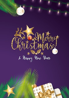 Kerstmispurple met gouden ontwerp als achtergrond