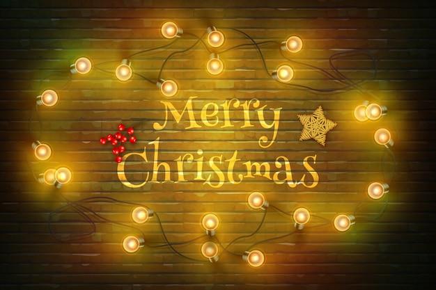 Kerstmissamenstelling op donkere houten achtergrond met wensen en slinger.