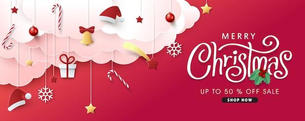 Kerstmissamenstelling op papier gesneden stijl verkoop banner achtergrond.