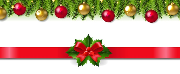 Kerstmisslinger met rood lint en boog
