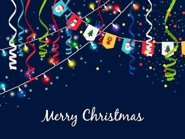 Kerstmisslinger met serpentine en veelkleurige lichten op blauw