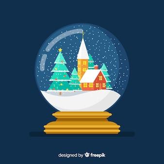 Kerstmissneeuwbal glob in plat ontwerp
