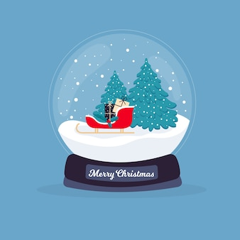 Kerstmissneeuwbalbol in plat ontwerp
