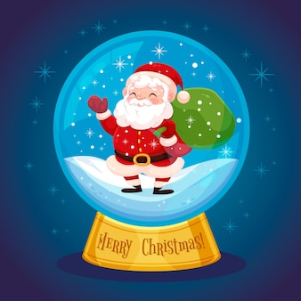 Kerstmissneeuwbalbol met santa