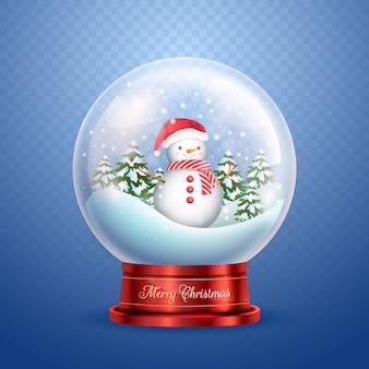 Kerstmissneeuwbalbol met sneeuwman