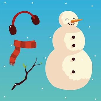 Kerstmissneeuwman oorbeschermers sjaal en tak sneeuw illustratie