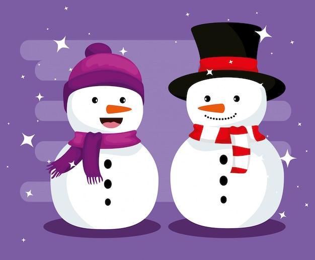 Kerstmissneeuwmannen met hoed en sjaal om te vieren