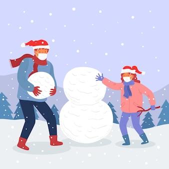 Kerstmissneeuwscène - maskers dragen