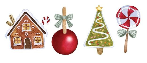 Kerstmissnoepjes instellen aquarel elementen