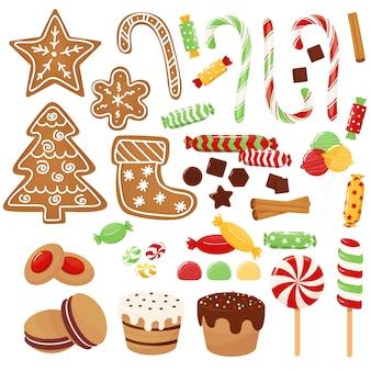 Kerstmissnoepjes instellen geassorteerde snoepjeskoekjes