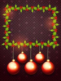 Kerstmisspar framn en ballenachtergrond