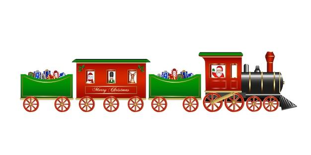 Kerstmisspeelgoed geïsoleerde trein met geschenkdozen van de kerstman en kerstkarakters