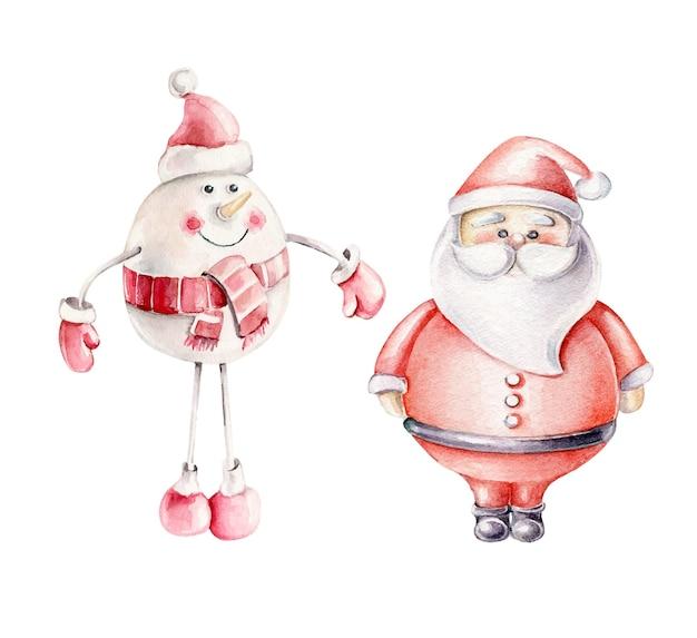 Kerstmisspeelgoed. kerstman en sneeuwman