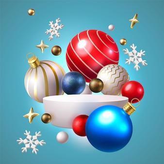 Kerstmisspeelgoed op podium met sneeuwvlokken en sterren