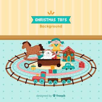 Kerstmisspeelgoed op tapijtachtergrond