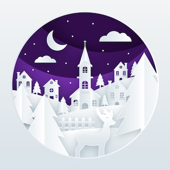 Kerstmisstad op document stijlachtergrond