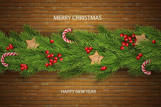 Kerstmisvector op baksteenachtergrond met wensen, pijnboomtakken, bessen.