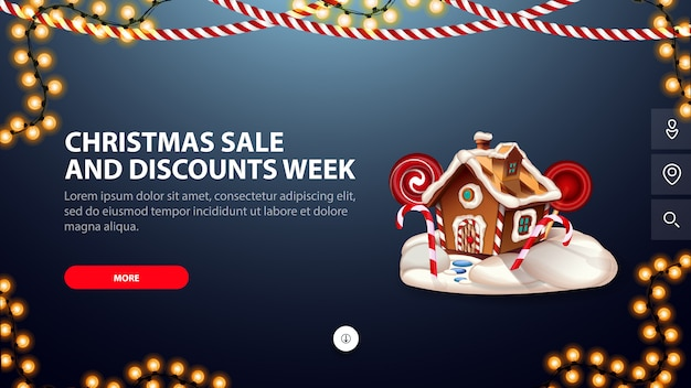 Kerstmisverkoop en kortingsweek, blauwe banner met knoop, slingers en kerstmispeperkoekhuis voor website