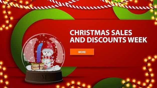 Kerstmisverkoop en kortingsweek, rode heldere horizontale moderne webbanner met knoop en sneeuwbol met sneeuwman