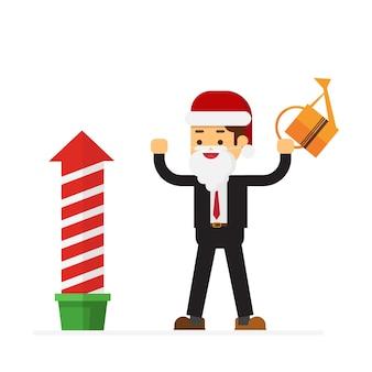 Kerstmiszakenman gekleed in santa claus-kostuum