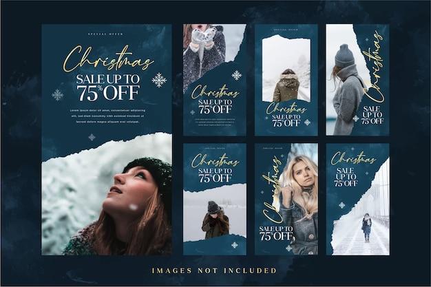 Kerstmode verkoop instagram verhaalsjabloon voor reclame op sociale media