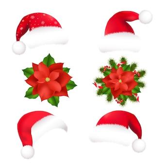 Kerstmuts en poinsettia, op een witte achtergrond
